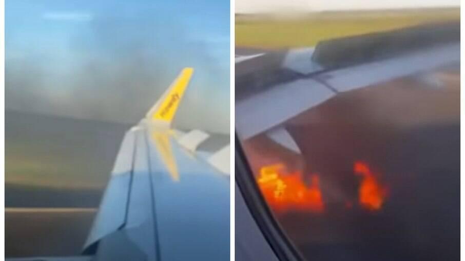 Motor de avião pega fogo ao colidir com pássaro