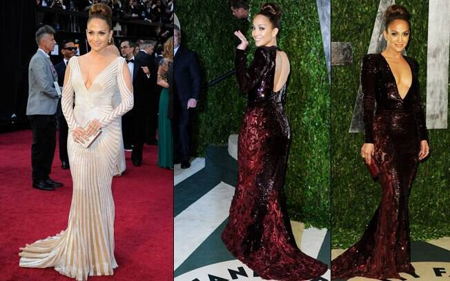 Jennifer Lopez e os seus dois vestidos na noite desse domingo (26)