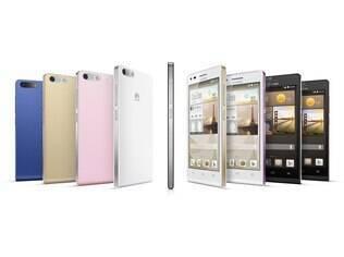 O Ascend G6 4G está disponível em preto com detalhes em cinza ou rosa, ou branco com dourado champanhe. Já o Ascend G6 3G vem em preto, branco, rosa, dourado ou azul