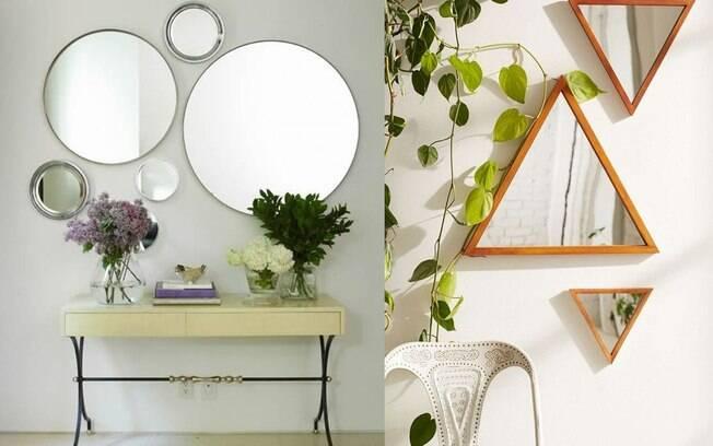 A composição de espelhos, com tamanhos, molduras e formas diferentes, trazem charme para a sua decoração