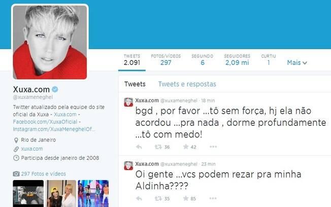 Reprodução da página do Twitter de Xuxa
