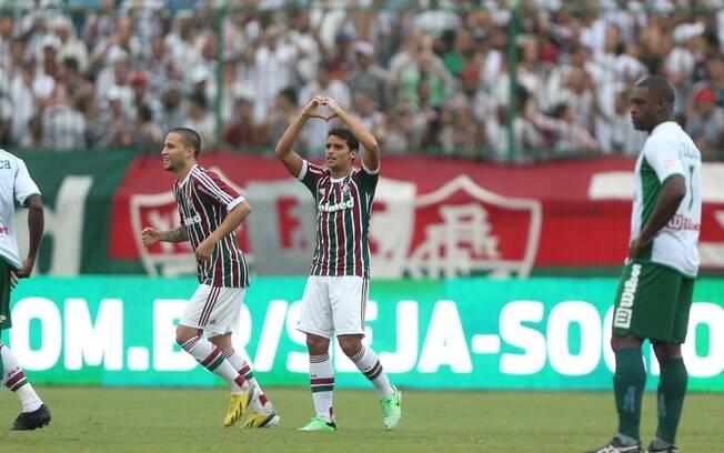 Jean comemora após abrir o placar para o  Fluminense diante do Boavista