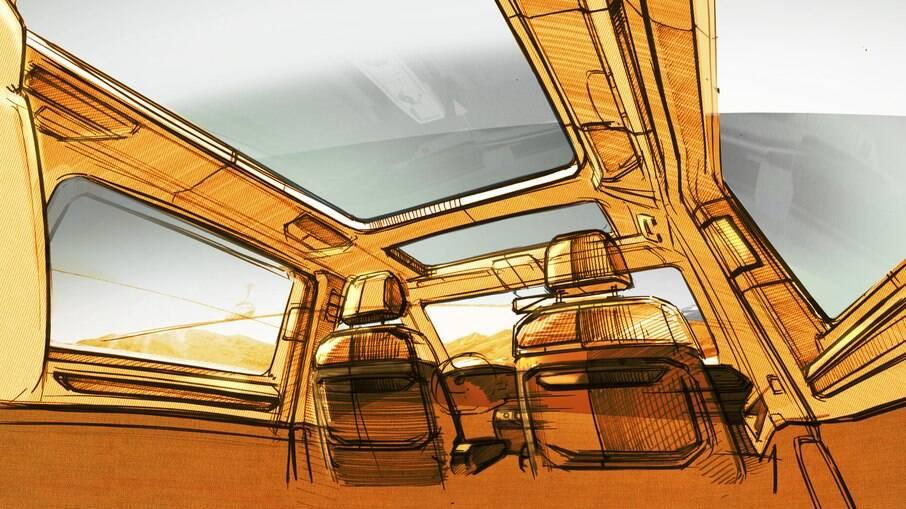 Esboço do interior da sétima geração da VW Kombi mostra um aspecto bastante arejado