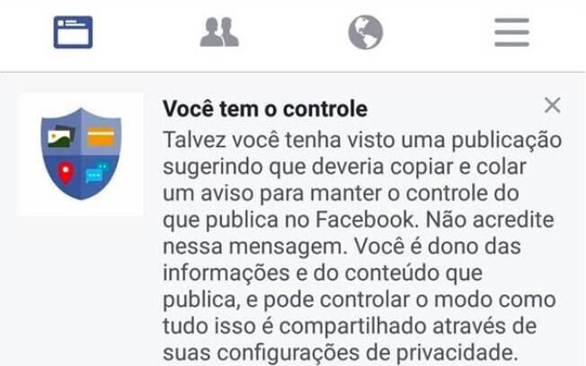 Internet: Facebook avisou usuários que as informações eram falsas