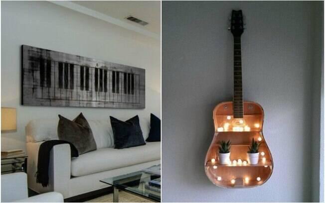 Se você gosta de música, pense nos instrumentos e notas musicais na hora de decorar a casa