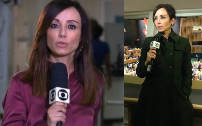 Elaine Bast fazendo reportagens para os telejornais da Globo
