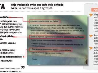 Veja trechos do aviso que a vítima diz ter encontrado em seu bolso