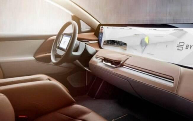 A chinesa Byton no CES 2019 avança no lançamento de seu SUV elétrico com tela interativa por toque ou por voz, de 49