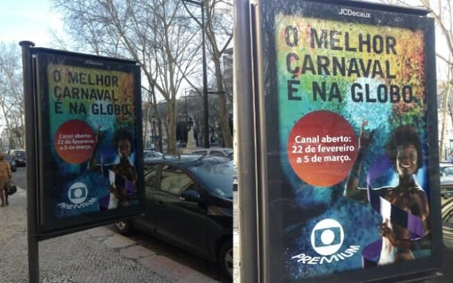 Globeleza no anúncio da transmissão do carnaval em Lisboa