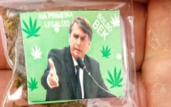 O Bolso Bek, porção de maconha com a foto de Bolsonaro
