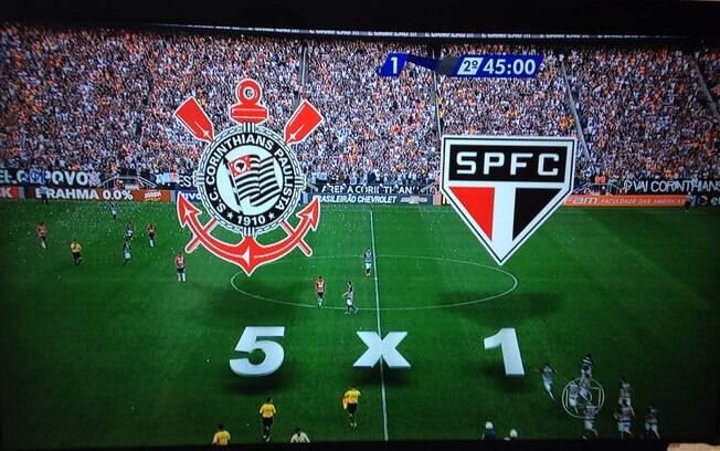 Ops. Gafe da Globo na goleada corintiana. Foto: Reprodução