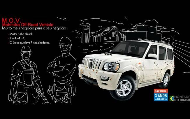 Imagem tirada do site da Mahindra, ainda no ar. Destaque para o slogan do M.O.V.: