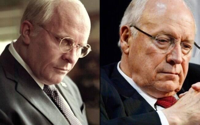 Christian Bale caracterizado como Dick Cheney ao lado do verdadeiro Dick Cheney: transformação intensa e de dentro para fora