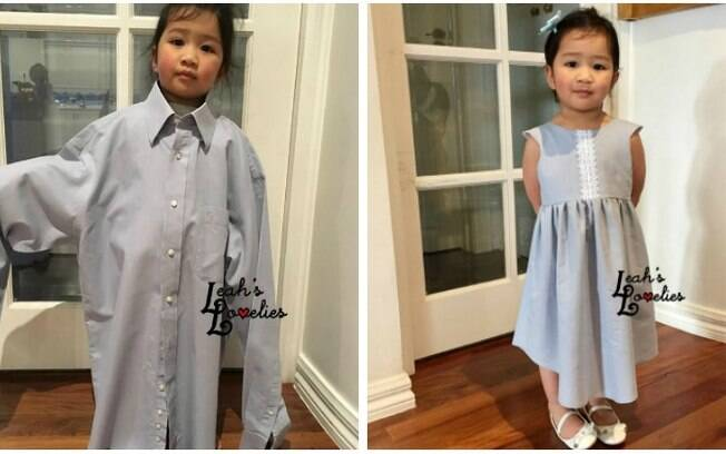 Buscando reaproveitar roupas antigas, Sharon criou um vestido para a filha a partir de uma camisa do marido