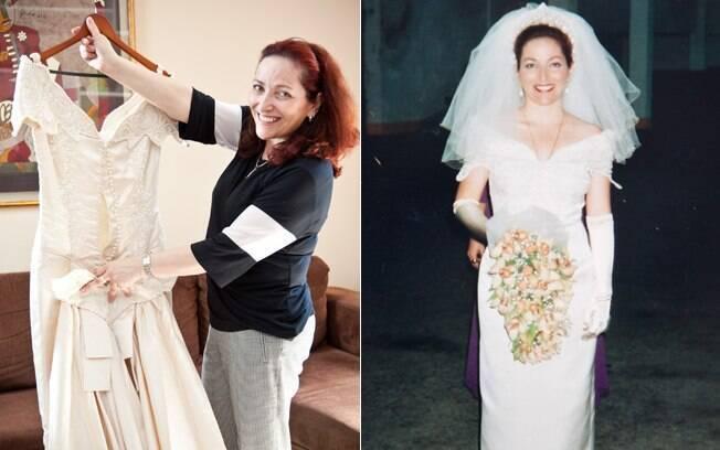 Cássia com o vestido, hoje, e no dia do casamento: a médica escolheu a roupa antes mesmo de escolher o noivo