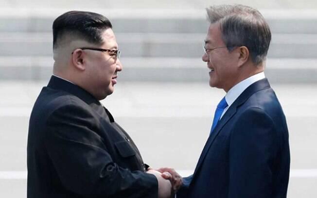 Kim Jong-un, da Coreia do Norte, e Moon Jae-já haviam se encontrado antes, quando se comprometeram com a paz