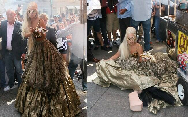 Lady Gaga foi ao chão durante ensaio fotográfico