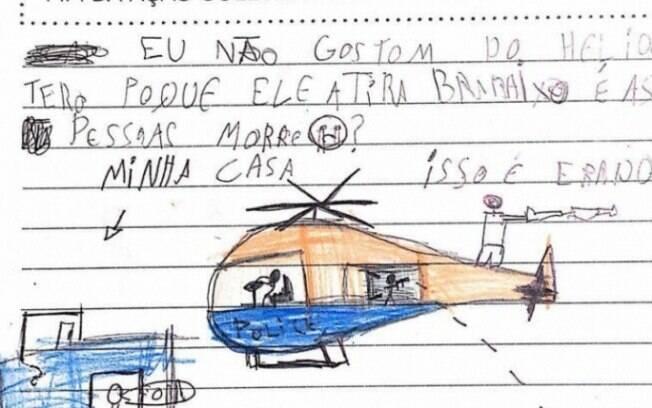 Nos textos, crianças pediram fim da violência e dos sobrevoos dos helicópteros na comunidade
