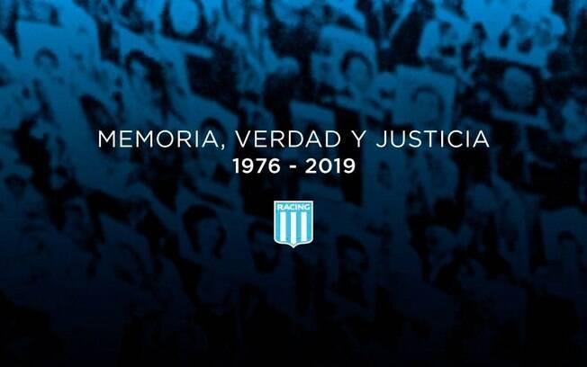 Racing, da Argentina, posta manifesto para apurar culpados por mortes durante ditadura de 1976