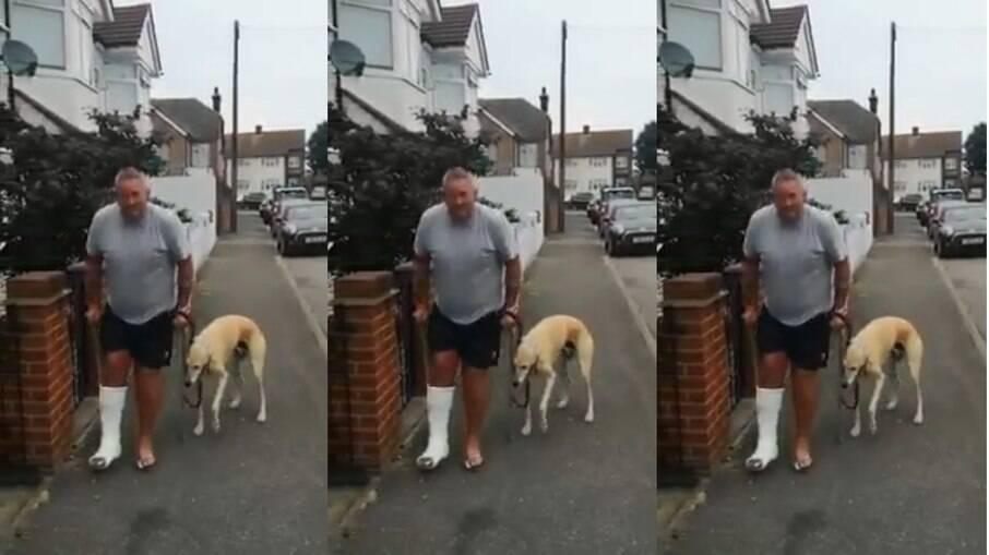 Russel Jones e Bill, seu cachorro empático