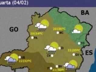 Veja o mapa que mostra a previsão para todo o Estado nesta quarta-feira (4)