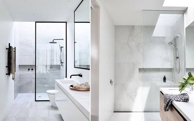 Tons neutros e claros fazem com que o banheiro pareça maior e são mais relaxantes do que cores mais vibrantes