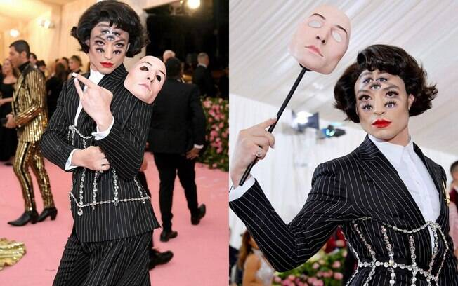 Ezra Miller apostou na maquiagem com ilusão de ótica, fazendo com que todos os olhos do Met Gala 2019 estivessem nele
