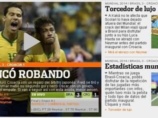 Olé afirmou que Brasil apenas venceu a Croácia por conta da ajuda do árbitro na penalidade sofrida por Fred