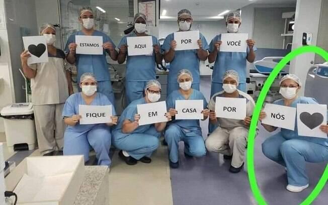 A técnica em enfermagem fez campanha pelo isolamento social