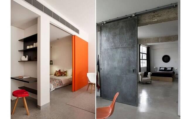 Como portas de correr não precisam de espaço para abrir e fechar, são ideais para um espaço mais restritos