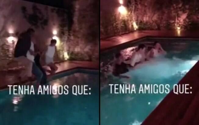 Bruna Marquezine fez uma festa de inauguração da nova casa, com direito a pulo na piscina e tudo