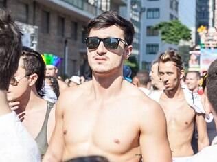 Bruno Guedes durante a 18ª Parada do Orgulho Gay de São Paulo