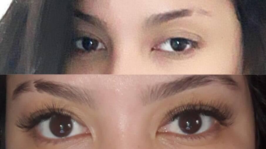 Antes e depois do alongamento de cílios