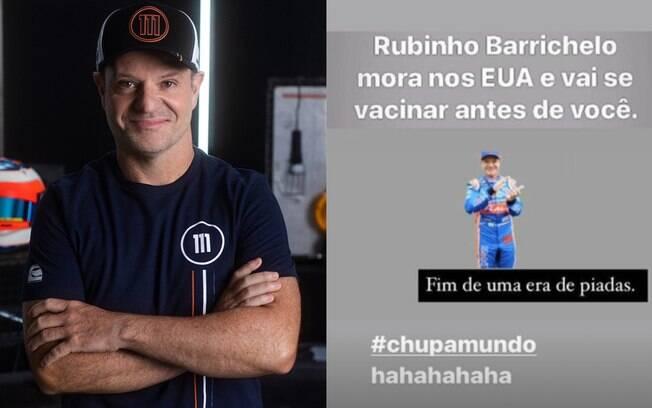 Rubens Barrichello brinca que vai tomar vacina antes dos brasileiros