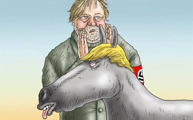 Neste quadrinho, o conselheiro sênior Steve Bannon é um encantador de cavalos e Trump é um burro recebendo ordens