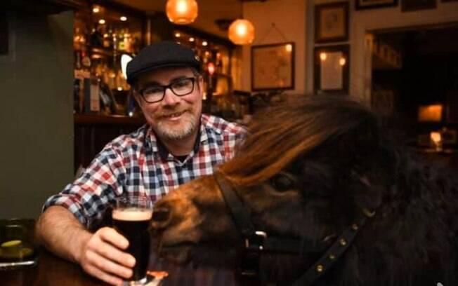 O pônei Patrick toma cerveja todos os dias com seu dono