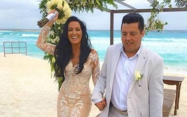 Bruno e Mariane renovaram os votos em praia paradisíaca de Cancún