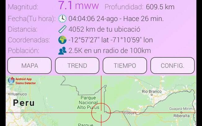 Epicentro do terremoto aconteceu a 609 km de profundidade em localidade próxima à fronteira com Brasil