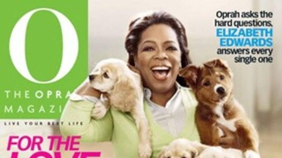 Capa da revista O em que Oprah aparece com Sadie no ombro