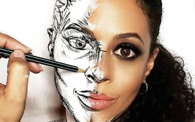 Sim, ela usou apenas maquiagem artística para criar esse efeito, nada de photoshop!