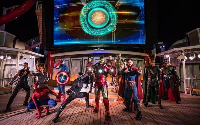 Uma das grandes atrações do Disney Cruise Line é o Marvel Day at Sea em que os super-heróis invadem o navio