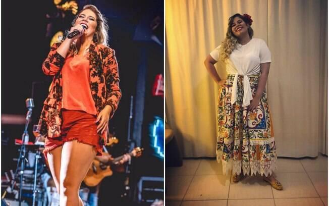 Marília Mendonça, esquerda, em 13 de janeiro e à direita, dia 01 de janeiro de 2018