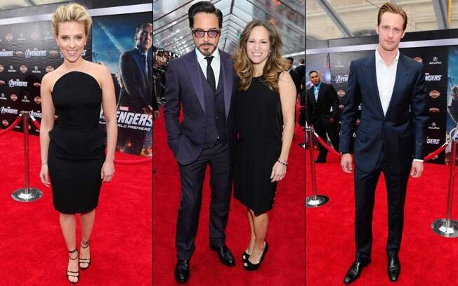 Scarlett Johansson, Robert Downey Jr com a mulher Susan, e Alexander Skarsgard