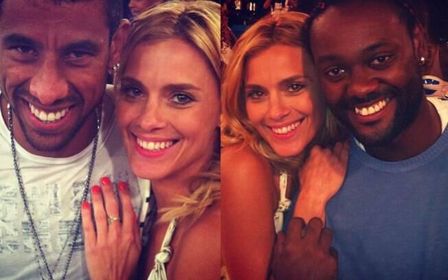 Carolina Dieckmann tietou os jogadores do Flamengo Vagner Love e Léo Moura