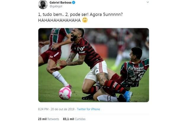 Gabigol tirou onda no Twitter