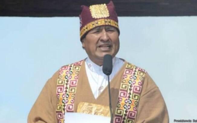 Morales durante ritual indígena que celebrou seu terceiro mandato em Tiwanaku, a 70 km de La Paz