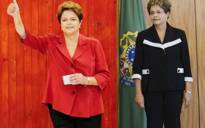 Montagem com foto da presidente Dilma em outubro de 2014, à esquerda, e em fevereiro de 2015, à direita