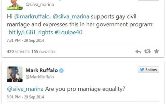 A equipe de Marina envia uma mensagem via Twitter para o ator, afirmando que ela apoia o casamento civil. Ele responde: Você é a favor do casamento igualitário?