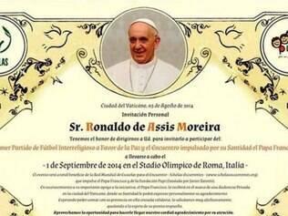 Ronaldinho Gaúcho foi convidado para o Jogo da Paz