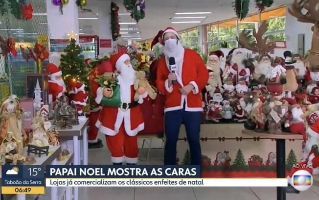André Modesto vestido de Papai Noel